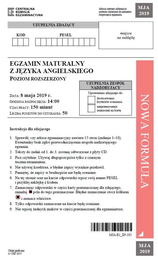 Matura 2019: Język angielski - poziom rozszerzony /CKE