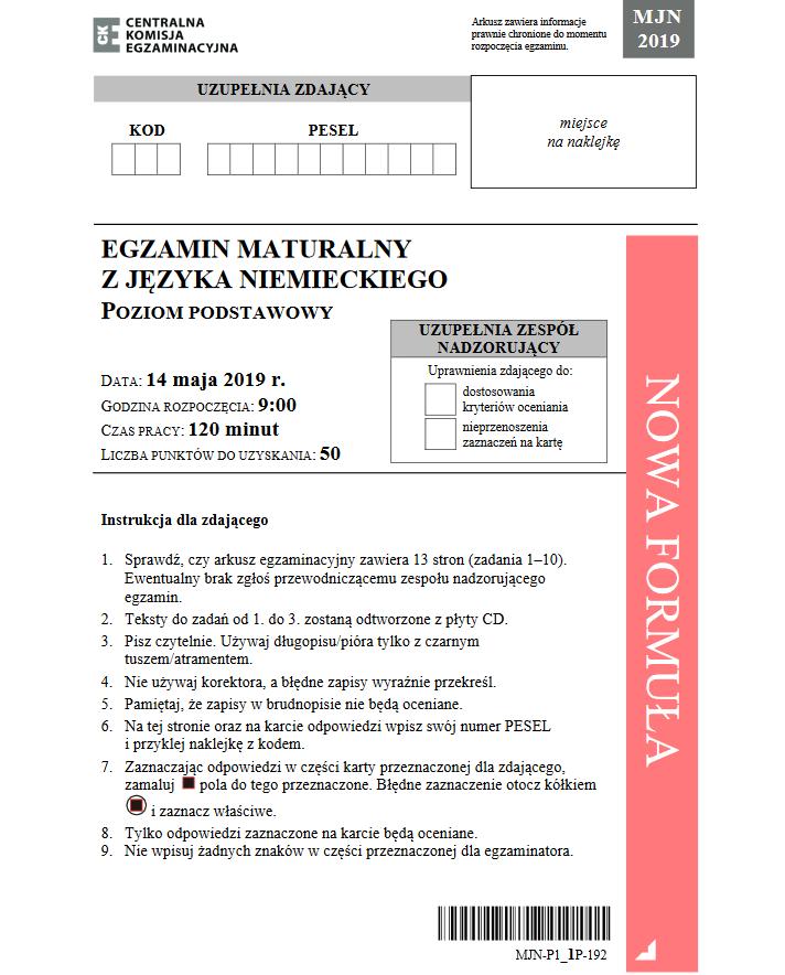 Matura 2019: Język niemiecki /CKE