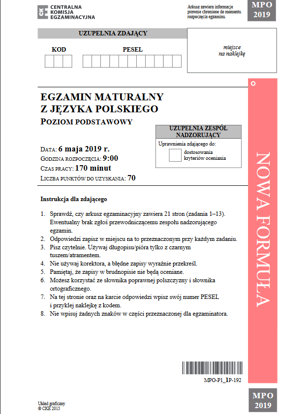 Matura 2019. Język polski – arkusz CKE /CKE