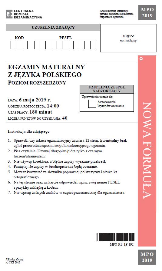 Matura 2019: Język polski – poziom rozszerzony, str. 1 /CKE