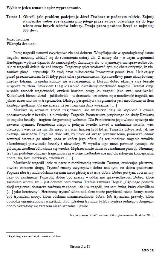 Matura 2019: Język polski – poziom rozszerzony, str. 2 /CKE