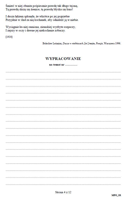 Matura 2019: Język polski – poziom rozszerzony, str. 4 /CKE