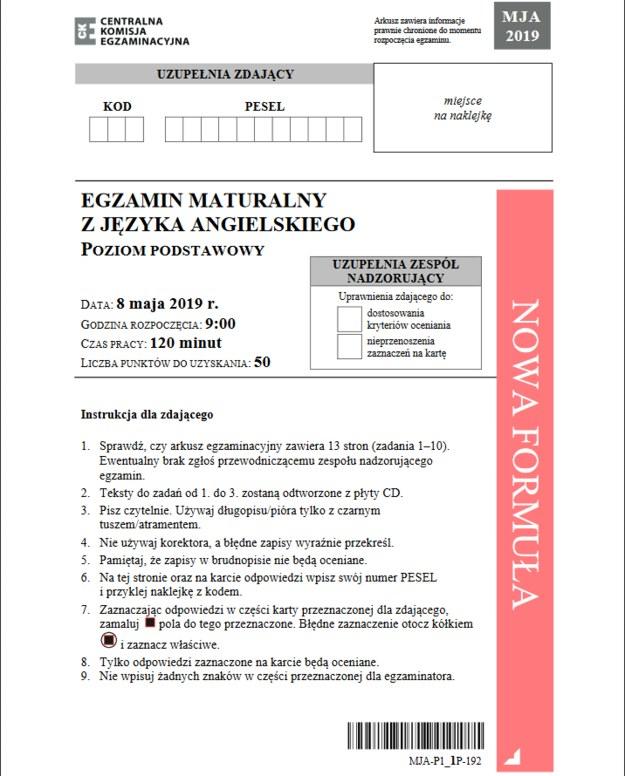 Matura 2019: Języka angielski poziom podstawowy /CKE