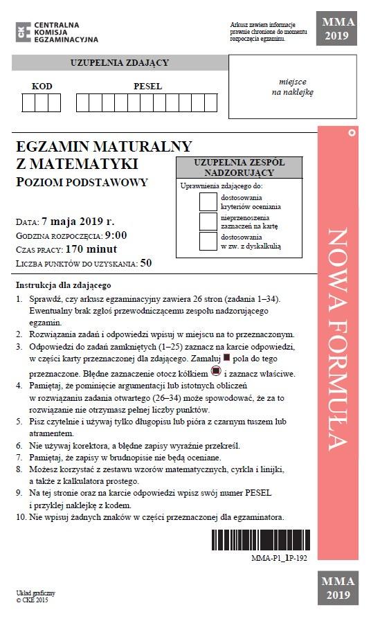 Matura 2019: Matematyka - poziom podstawowy, str. 1 /CKE