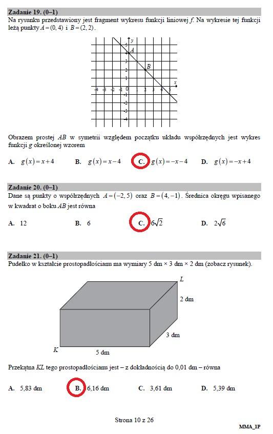 Matura 2019: Matematyka – poziom podstawowy, str. 10 /INTERIA.PL