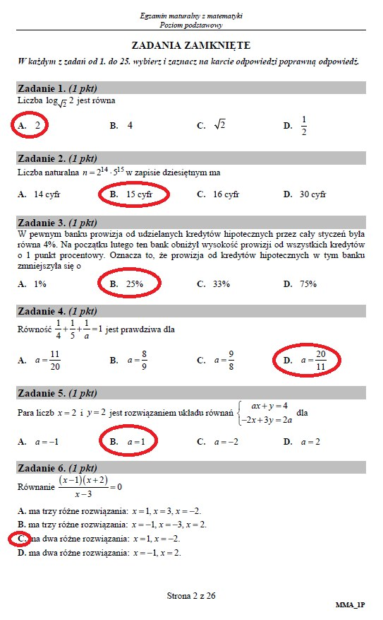 Matura 2019: Matematyka – poziom podstawowy, str. 2 /INTERIA.PL