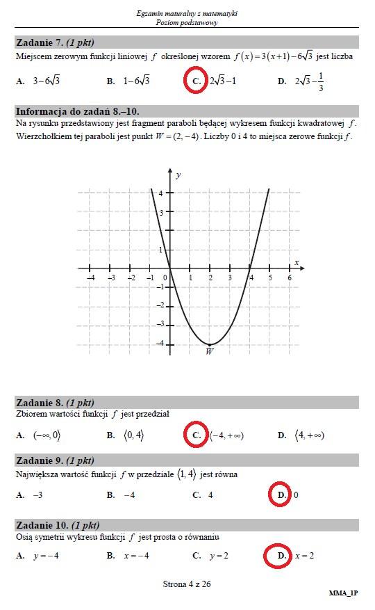 Matura 2019: Matematyka – poziom podstawowy, str. 4 /INTERIA.PL