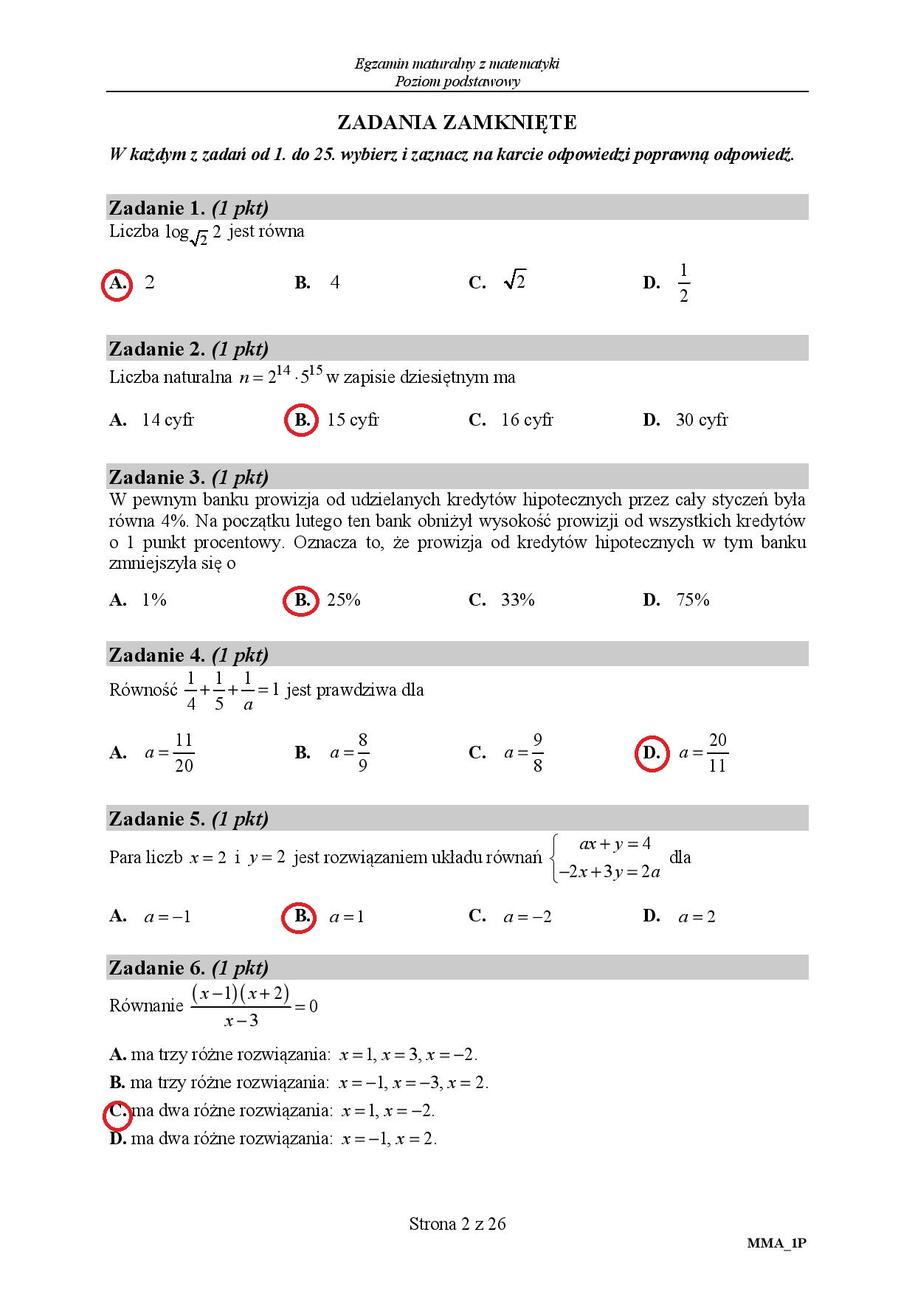 matura matematyka marzec 2019 odpowiedzi