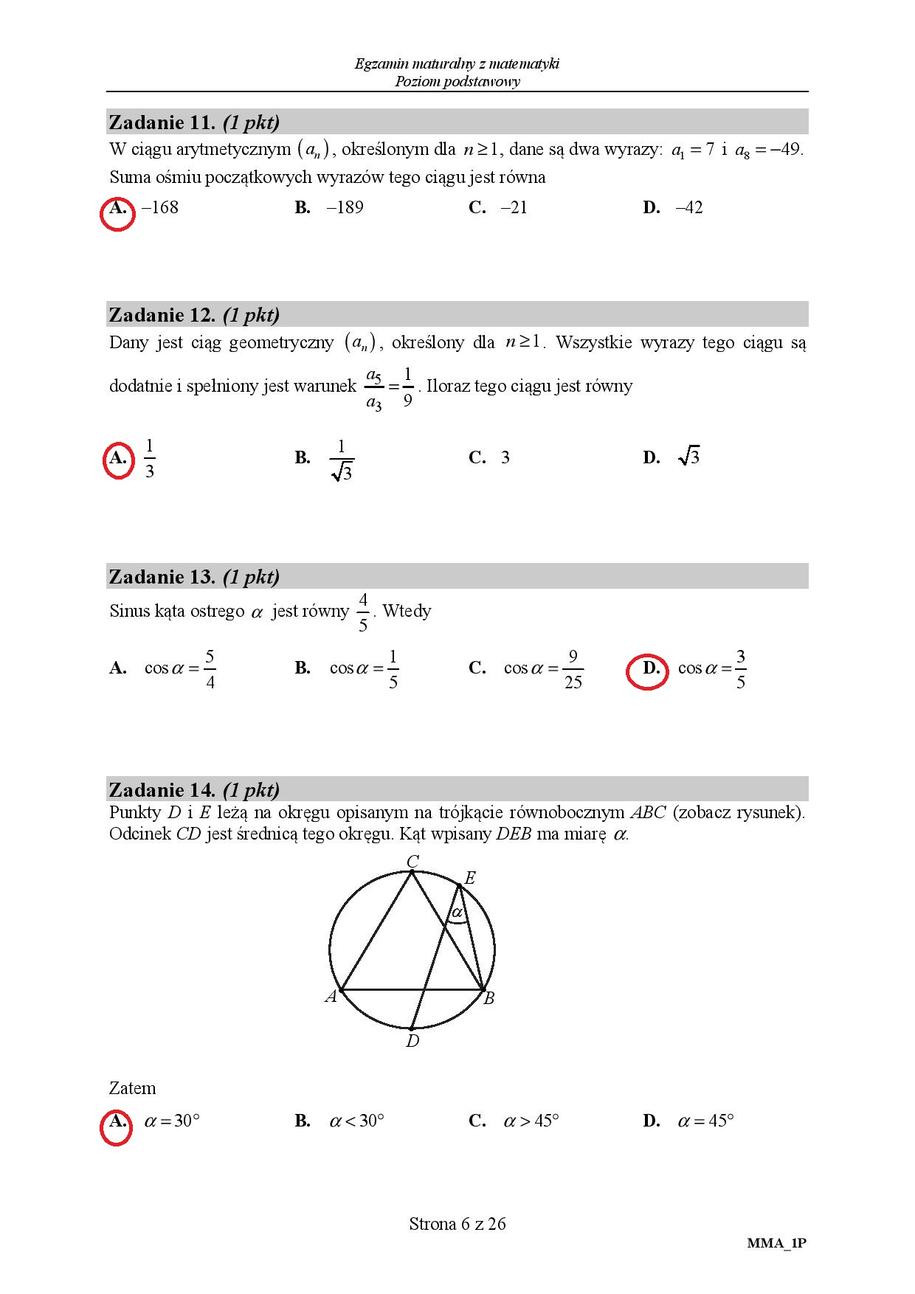 matura z matematyki odpowiedzi 2021
