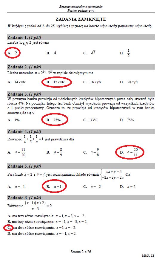 matura 2021 matematyka poziom podstawowy odpowiedzi