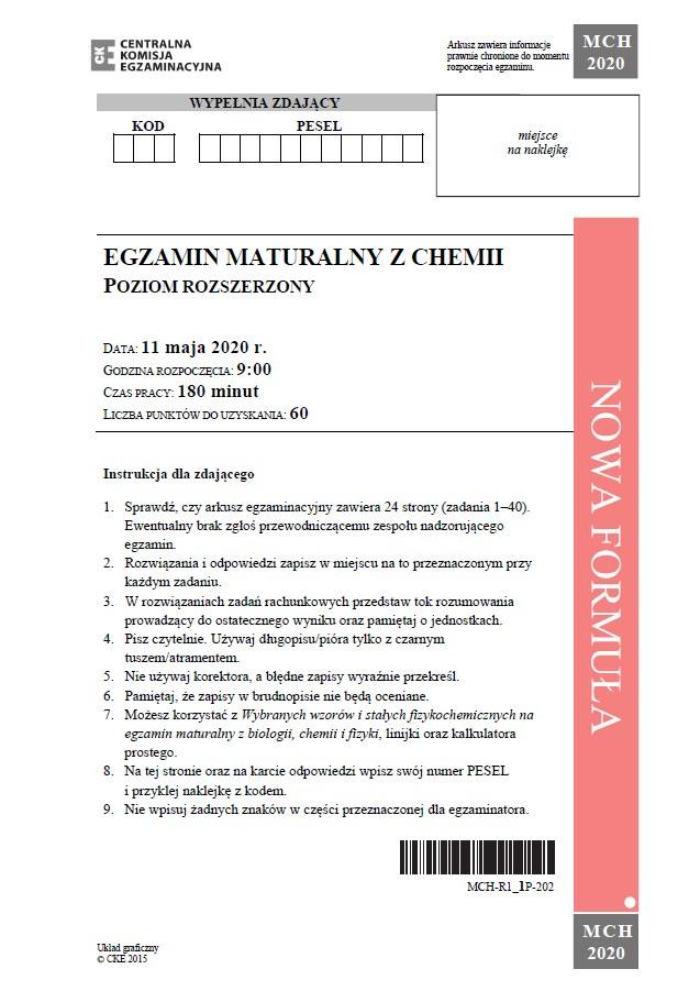 Matura 2020: Chemia - arkusz CKE /CKE