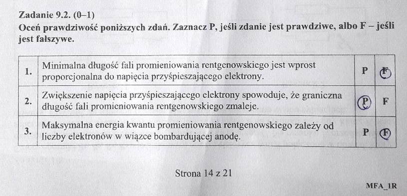 Matura 2020: Fizyka - odpowiedź do zad. 9.2 /INTERIA.PL