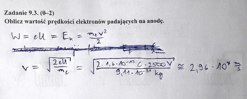 Matura 2020: Fizyka - odpowiedź do zad. 9.3 /INTERIA.PL