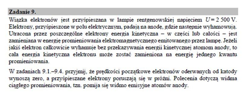 Matura 2020: Fizyka - zad. 9 /CKE