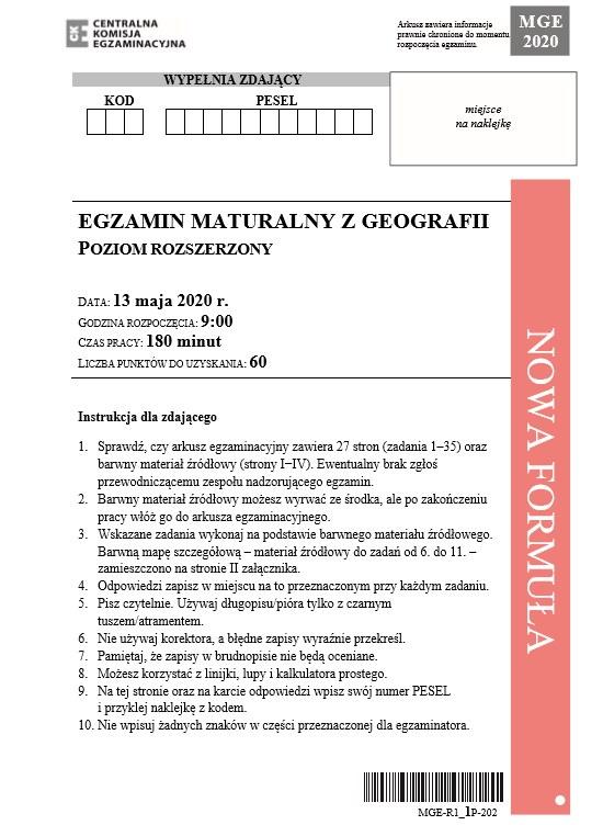 MATURA 2020: Geografia rozszerzona. Arkusz CKE /CKE