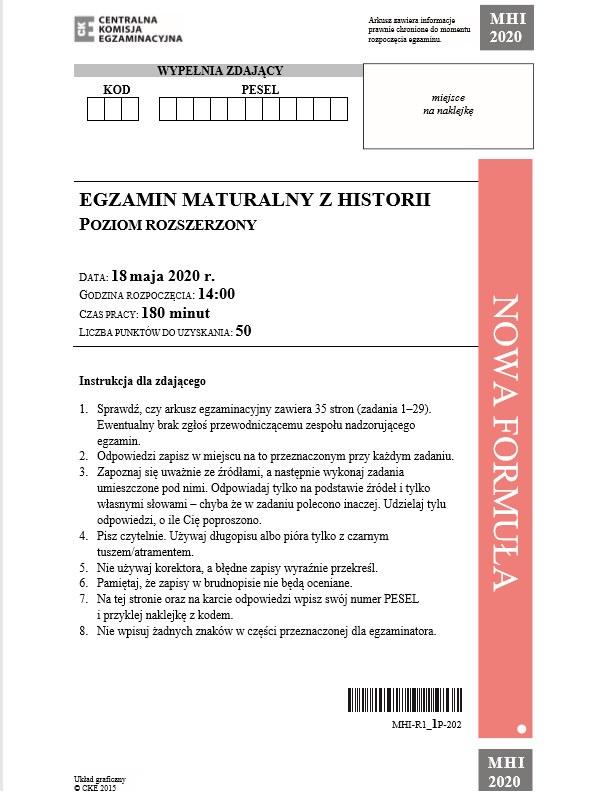 MATURA 2020: Historia poziom rozszerzony. Arkusz CKE /CKE