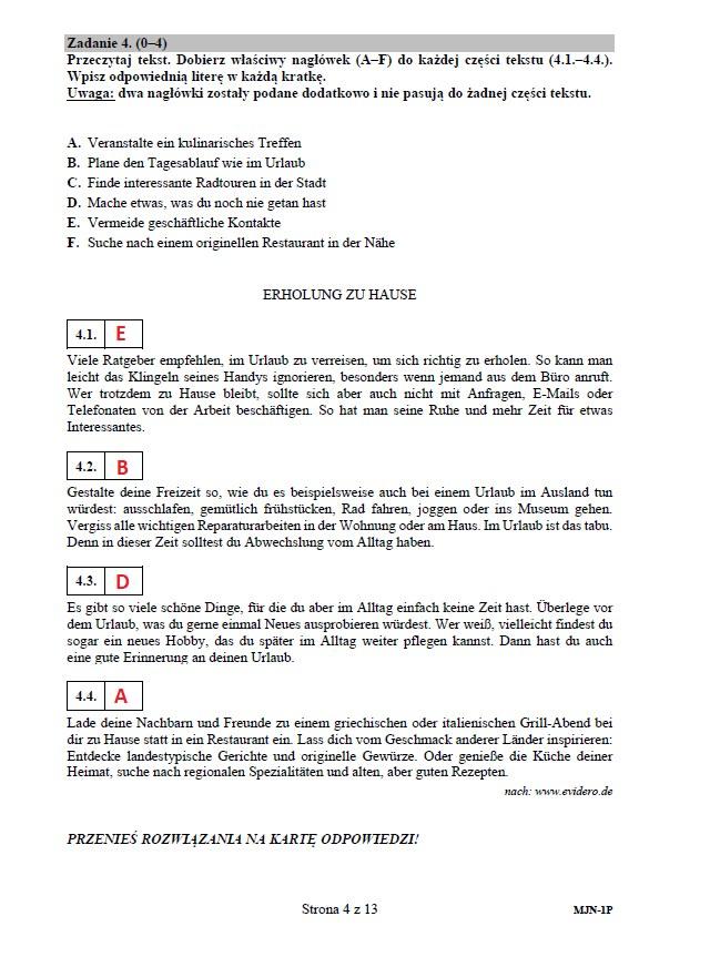 Matura 2020: Język niemiecki (poziom podstawowy) – arkusz CKE i odpowiedzi