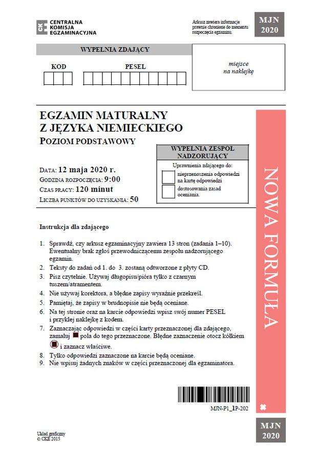 Matura 2020: Język niemiecki (poziom podstawowy) – arkusz CKE