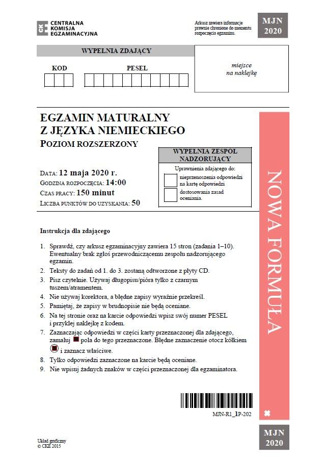 Matura 2020: Język niemiecki (poziom rozszerzony) – arkusz CKE /CKE
