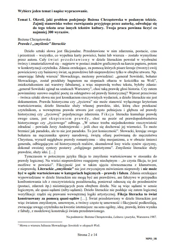 MATURA 2020. JĘZYK POLSKI POZIOM ROZSZERZONY. Arkusz CKE /CKE
