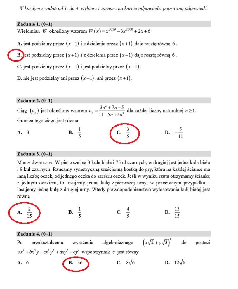 MATURA 2020. Matematyka poziom rozszerzony. Arkusz CKE i odpowiedzi. Strona 2 /INTERIA.PL