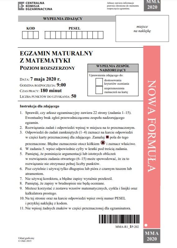 MATURA 2020. Matematyka poziom rozszerzony. Arkusz CKE /CKE