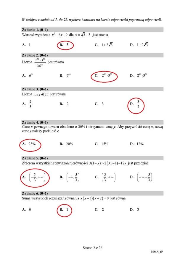 Matura 2020. Odpowiedzi z matematyki, poziom podstawowy /RMF FM