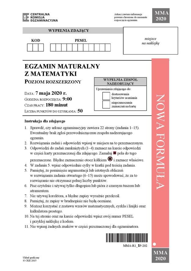 Matura 2020. Odpowiedzi z matematyki, poziom rozszerzony /RMF FM