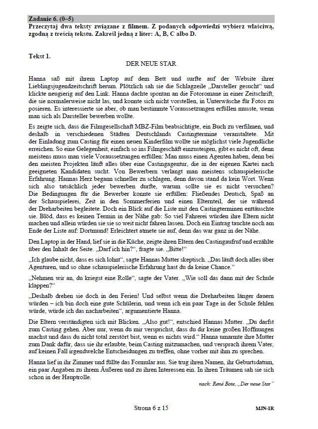 Matura 2020 z niemieckiego (poziom rozszerzony) – arkusz /CKE