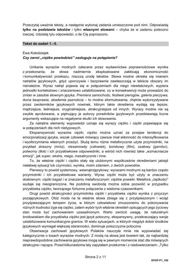 Matura 2021. Arkusz CKE: język polski, poziom podstawowy /CKE /Centralna Komisja Egzaminacyjna