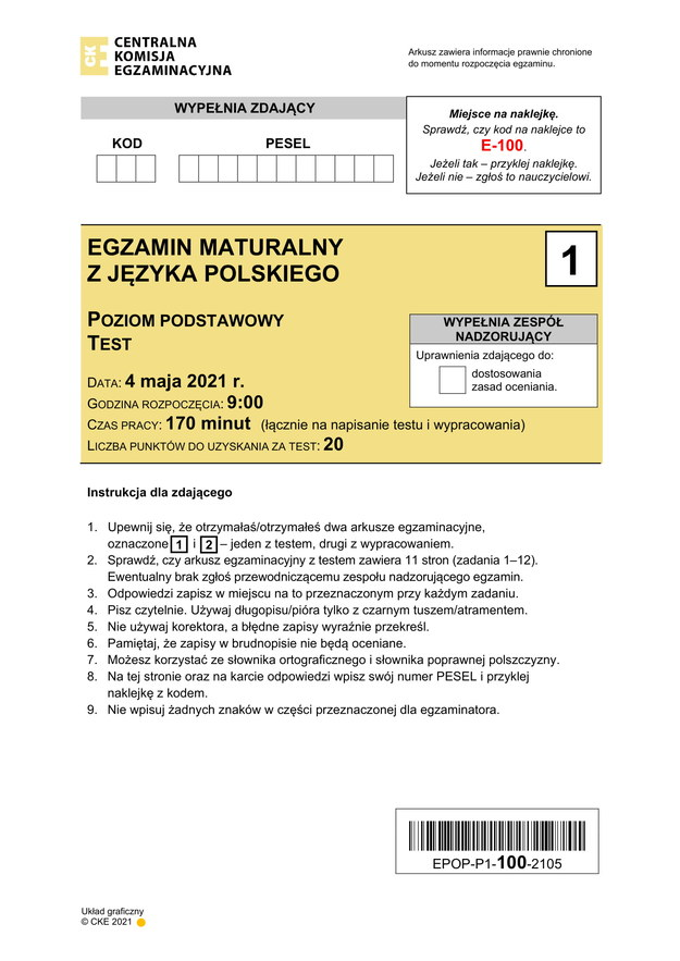 Matura 2021. Arkusz CKE z języka polskiego /CKE /