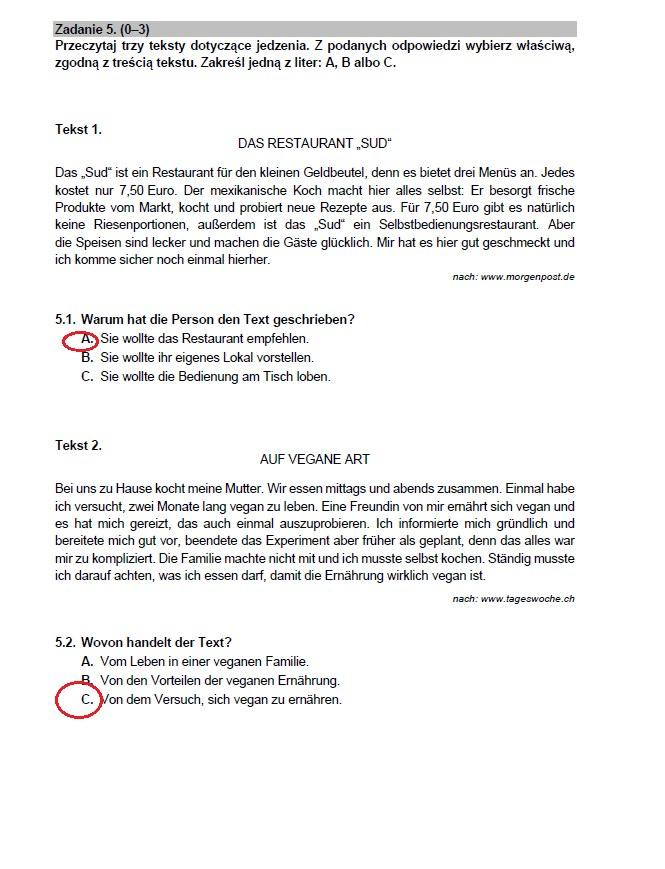 Matura 2021. Arkusz CKE z niemieckiego i odpowiedzi /INTERIA.PL