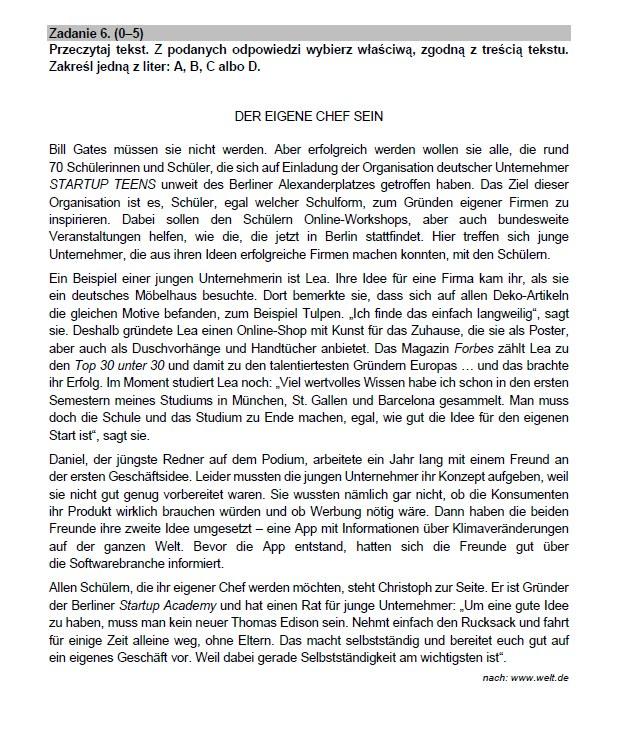 Matura 2021. Arkusz CKE z niemieckiego /CKE