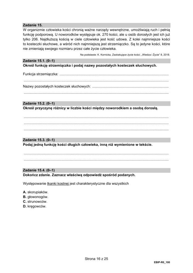 Matura 2021: Biologia, poziom rozszerzony - arkusz zadań /CKE /