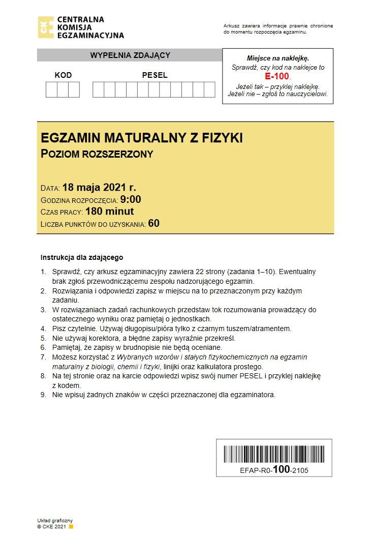 Matura 2021. Fizyka, poziom rozszerzony, arkusz CKE /INTERIA.PL
