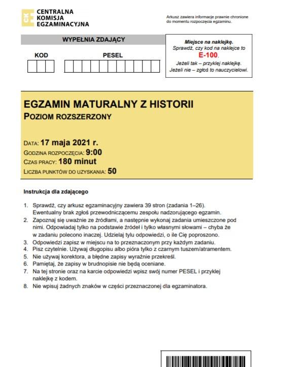 Matura 2021: Historia - u nas arkusz CKE i odpowiedzi /CKE