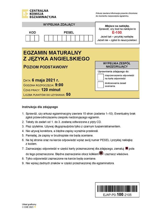Matura 2021. Język angielski, poziom podstawowy /Centralna Komisja Egzaminacyjna