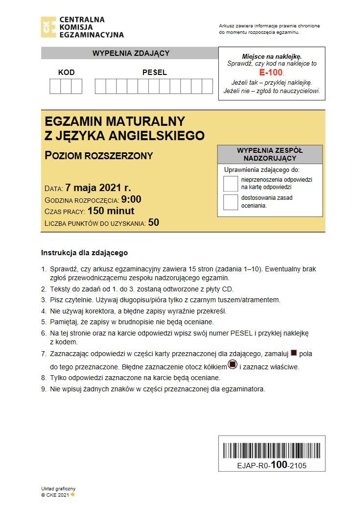 Matura 2021. Język angielski, poziom rozszerzony. Arkusz CKE /INTERIA.PL