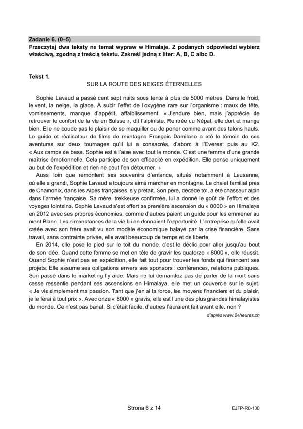 Matura 2021: Język francuski, poziom rozszerzony - arkusz zadań /CKE /