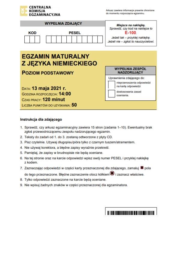 Matura 2021: Język niemiecki /INTERIA.PL