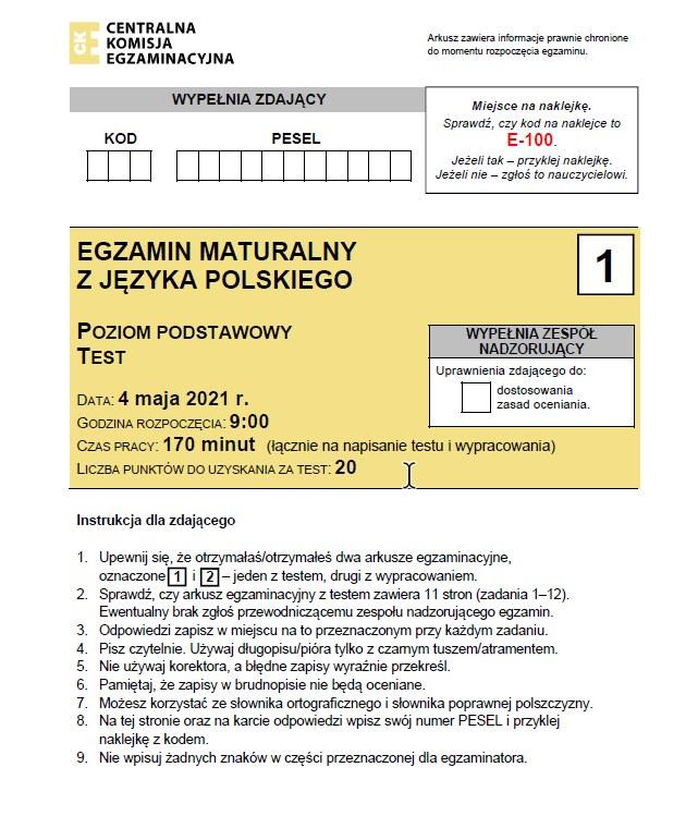 Matura 2021. Język polski arkusz CKE /CKE