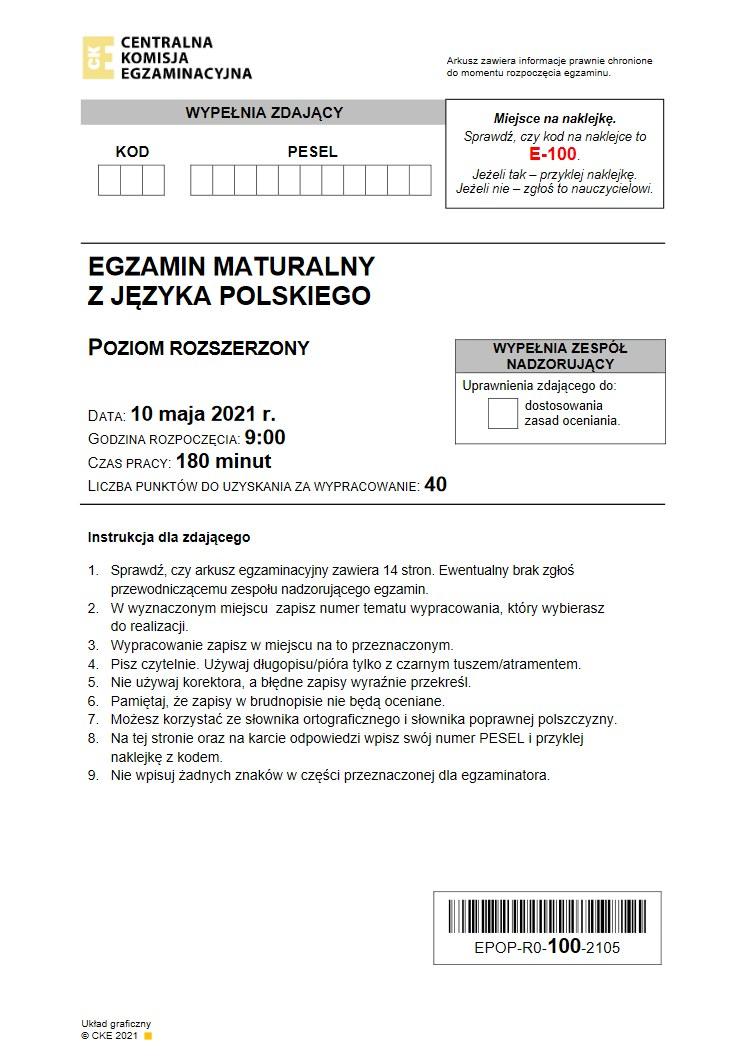 Matura 2021. Język polski poziom rozszerzony /INTERIA.PL