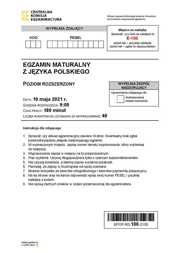 Matura 2021, język polski, poziom rozszerzony /Centralna Komisja Egzaminacyjna