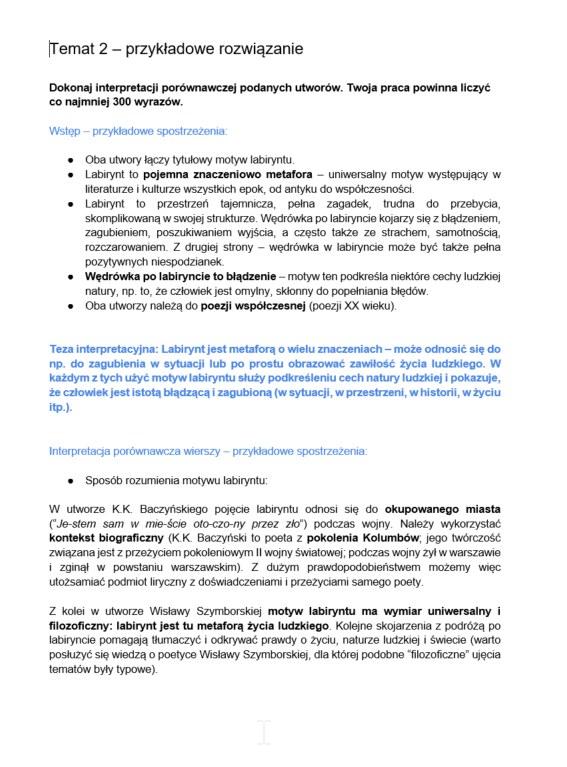 Matura 2021. Jezyk polski. Przykładowe odpowiedzi /INTERIA.PL