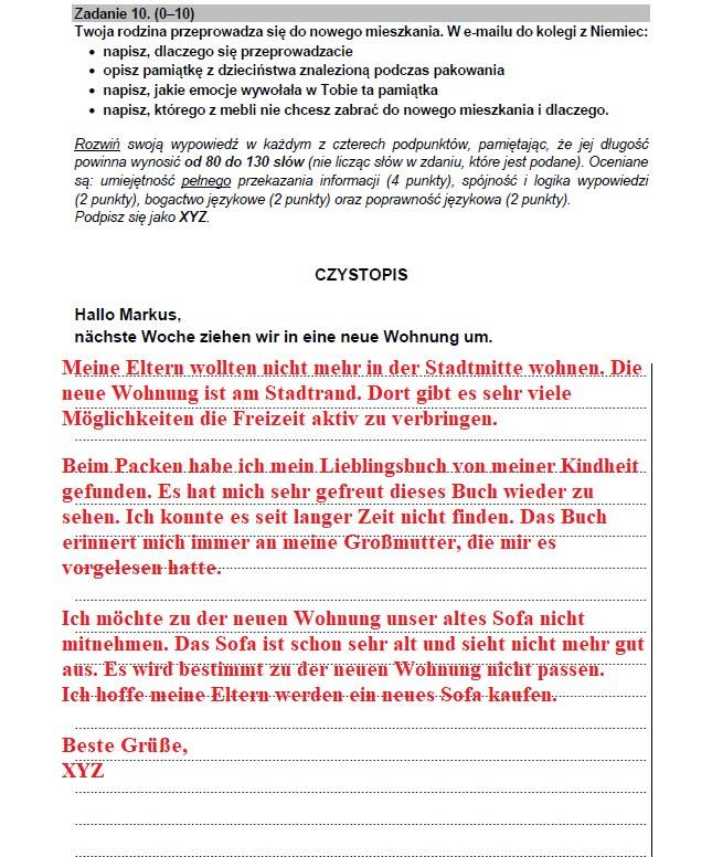 Matura 2021: Niemiecki - przykładowy e-mail /INTERIA.PL
