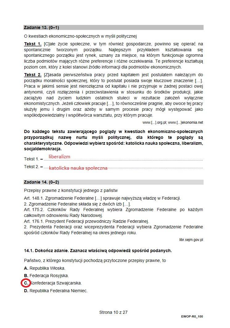 Matura 2021. Wiedza o społeczeństwie, poziom rozszerzony /INTERIA.PL