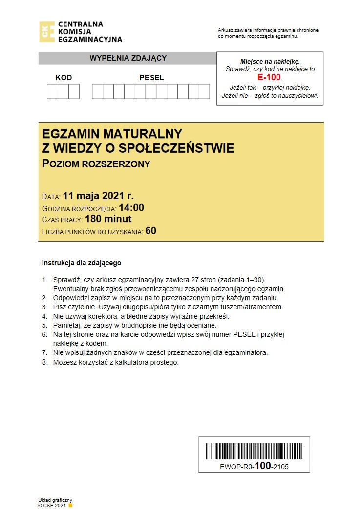 MATURA 2021. WOS. Arkusz i rozwiązania /INTERIA.PL