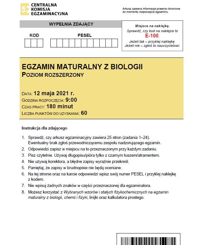 MATURA 2021 z biologii. Zobacz arkusz CKE i odpowiedzi /CKE