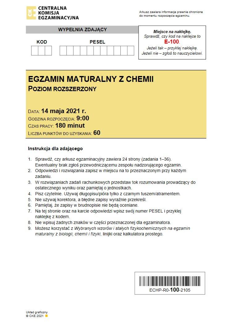 Matura 2021 z chemii. Arkusz CKE /INTERIA.PL