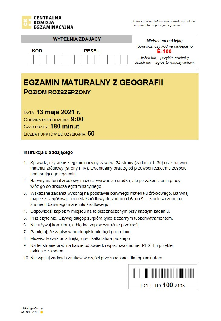 Matura 2021 z geografii. Arkusz CKE /INTERIA.PL